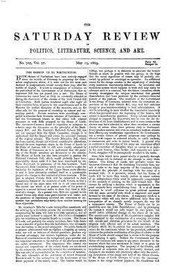 Saturday review Samstag 15. Mai 1869