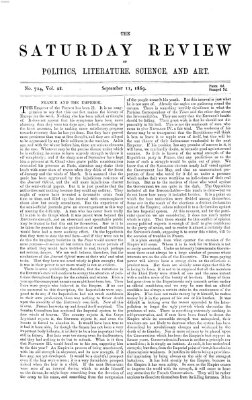 Saturday review Samstag 11. September 1869