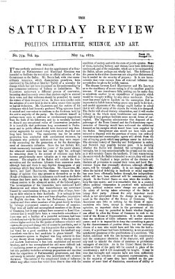 Saturday review Samstag 14. Mai 1870