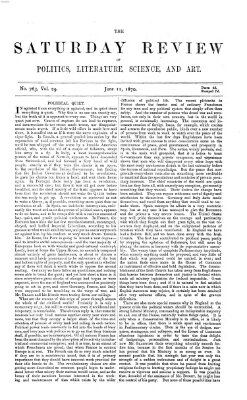 Saturday review Samstag 11. Juni 1870