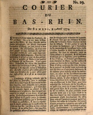 Courier du Bas-Rhin Samstag 9. April 1774