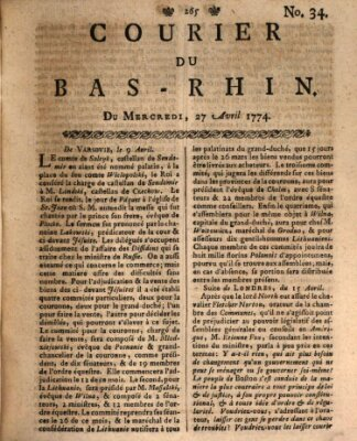 Courier du Bas-Rhin Mittwoch 27. April 1774