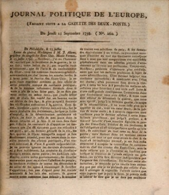 Journal politique de l'Europe (Gazette des Deux-Ponts) Donnerstag 13. September 1798