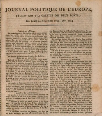 Journal politique de l'Europe (Gazette des Deux-Ponts) Donnerstag 29. November 1798