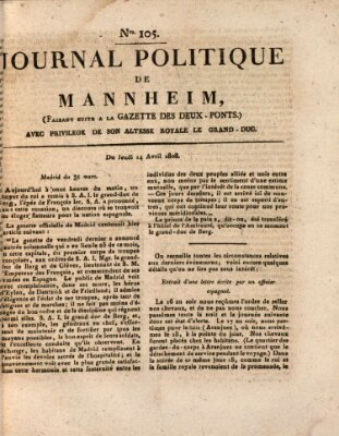 Journal politique de Mannheim (Gazette des Deux-Ponts) Donnerstag 14. April 1808