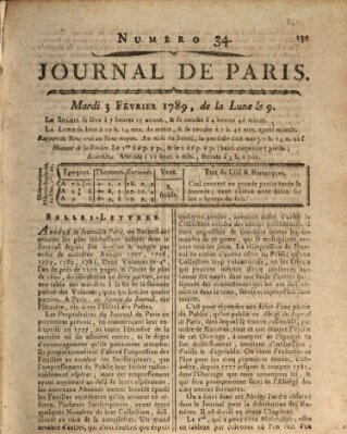 Journal de Paris 〈Paris〉 Dienstag 3. Februar 1789