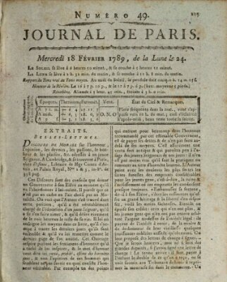 Journal de Paris 〈Paris〉 Mittwoch 18. Februar 1789