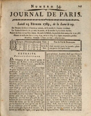 Journal de Paris 〈Paris〉 Montag 23. Februar 1789