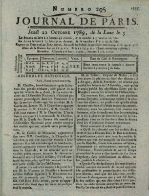 Journal de Paris 〈Paris〉 Donnerstag 22. Oktober 1789