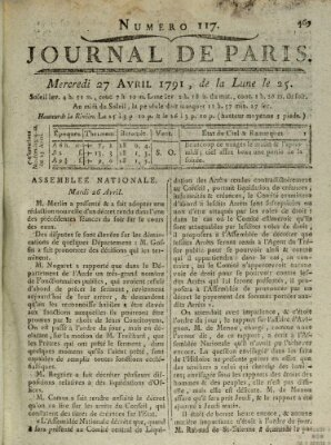 Journal de Paris 〈Paris〉 Mittwoch 27. April 1791