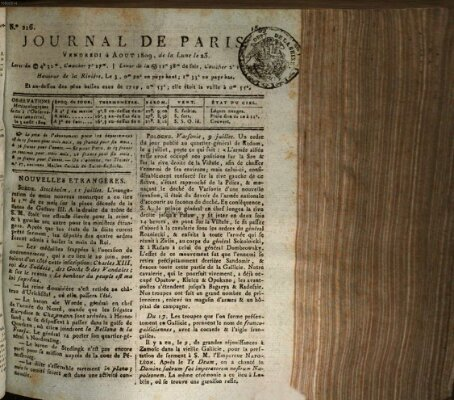 Journal de Paris 〈Paris〉 Freitag 4. August 1809