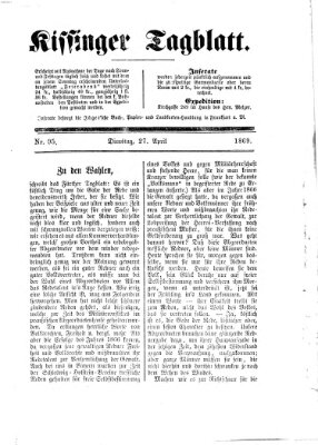 Kissinger Tagblatt Dienstag 27. April 1869