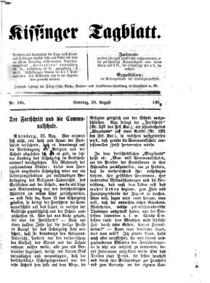Kissinger Tagblatt Sonntag 29. August 1869