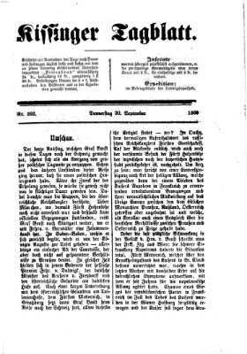 Kissinger Tagblatt Donnerstag 30. September 1869
