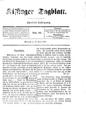 Kissinger Tagblatt Mittwoch 13. April 1870
