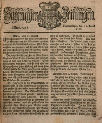 Bayreuther Zeitung Donnerstag 17. August 1786