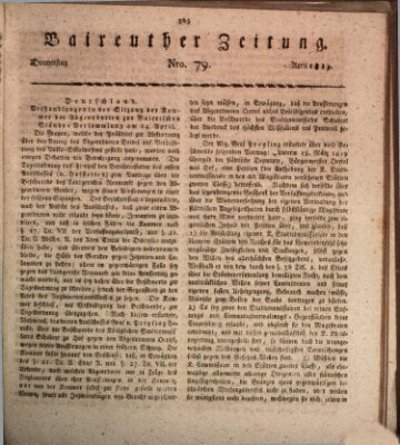 Bayreuther Zeitung Donnerstag 22. April 1819