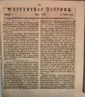 Bayreuther Zeitung Montag 23. August 1819