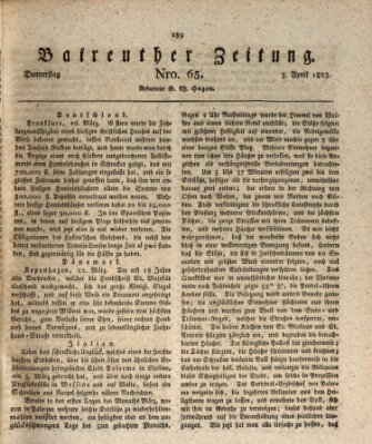 Bayreuther Zeitung Donnerstag 3. April 1823
