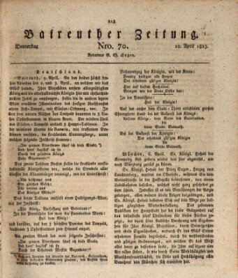 Bayreuther Zeitung Donnerstag 10. April 1823
