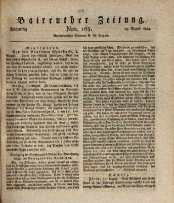 Bayreuther Zeitung Donnerstag 19. August 1824
