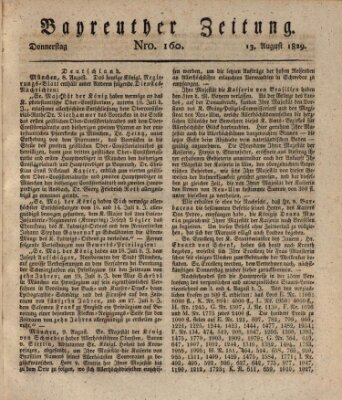 Bayreuther Zeitung Donnerstag 13. August 1829