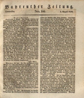 Bayreuther Zeitung Donnerstag 2. August 1838