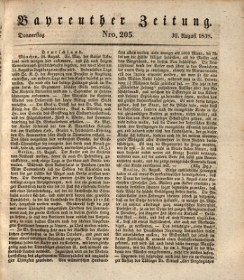 Bayreuther Zeitung Donnerstag 30. August 1838
