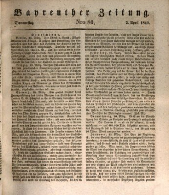 Bayreuther Zeitung Donnerstag 2. April 1840