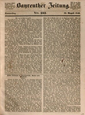 Bayreuther Zeitung Donnerstag 23. August 1849
