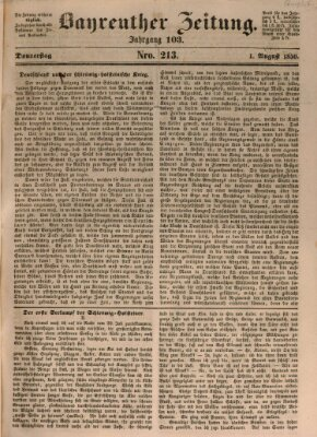 Bayreuther Zeitung Donnerstag 1. August 1850