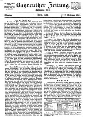 Bayreuther Zeitung Montag 17. Februar 1851
