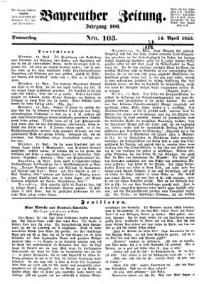 Bayreuther Zeitung Donnerstag 14. April 1853