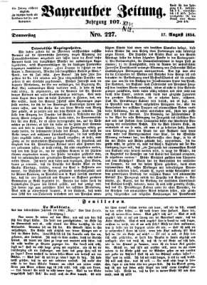 Bayreuther Zeitung Donnerstag 17. August 1854