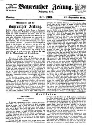 Bayreuther Zeitung Donnerstag 27. August 1857