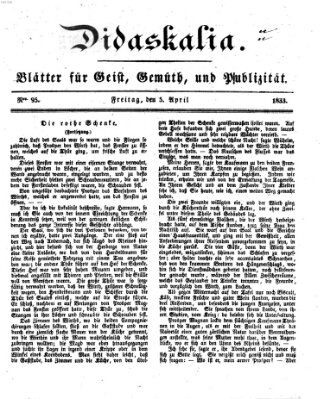 Didaskalia Freitag 5. April 1833