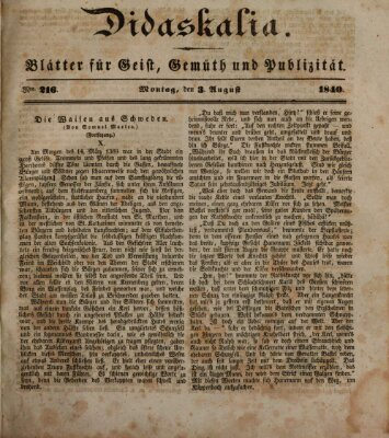 Didaskalia Montag 3. August 1840