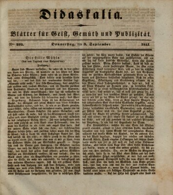 Didaskalia Donnerstag 9. September 1841