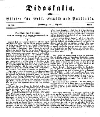 Didaskalia Freitag 1. April 1853