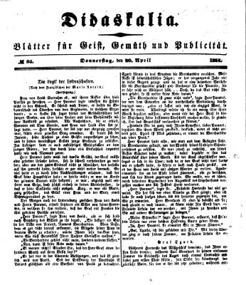 Didaskalia Donnerstag 20. April 1854