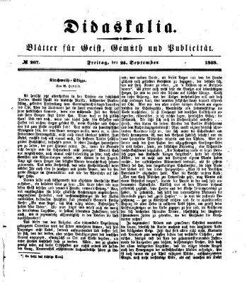 Didaskalia Freitag 25. September 1868