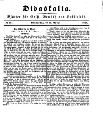 Didaskalia Donnerstag 22. April 1869