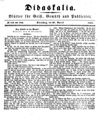 Didaskalia Dienstag 27. April 1869