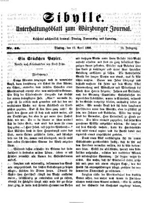 Sibylle (Würzburger Journal) Dienstag 17. April 1866