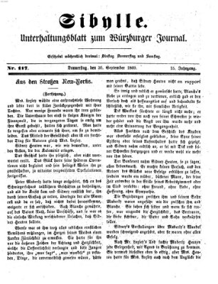 Sibylle (Würzburger Journal) Donnerstag 30. September 1869