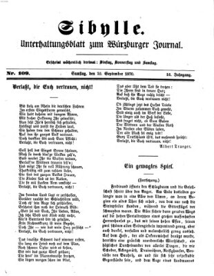 Sibylle (Würzburger Journal) Samstag 10. September 1870