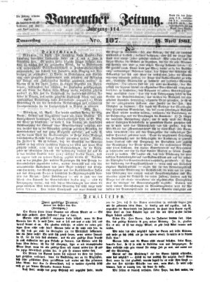 Bayreuther Zeitung Donnerstag 18. April 1861
