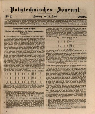 Polytechnisches Journal Samstag 14. April 1838
