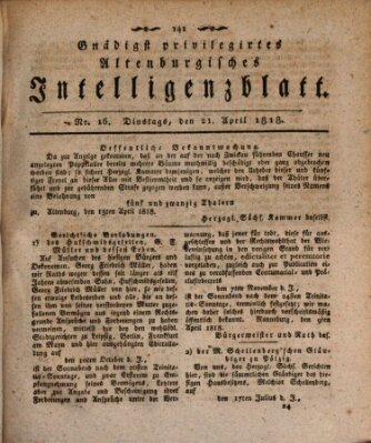 Gnädigst privilegiertes Altenburgisches Intelligenzblatt Dienstag 21. April 1818