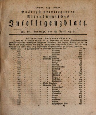 Gnädigst privilegiertes Altenburgisches Intelligenzblatt Dienstag 28. April 1818